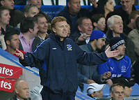 12/5/2004 - Chelsea v  Everton , Stamford Bridge - FA Barclays Premiership.<br />Everton manager David Moyes shrugs his shoulders during the game, in which his team lost 1-0<br />Photo:Jed Leicester/Back Page Images