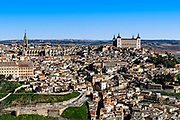 Cityscape view of the fortified city of Toledo, Spain.