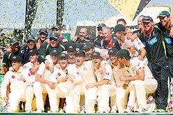 © Licensed to London News Pictures. 05/01/2014. The Australian team celebrate with the Ashes trophy during day 3 of the 5th Ashes Test Match between Australia Vs England at the SCG on 5 January, 2013 in Melbourne, Australia. Photo credit : Asanka Brendon Ratnayake/LNP