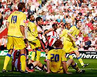 Photo: Alan Crowhurst.<br />Southampton v Leeds United. Coca Cola Championship. 21/04/2007. Leeds players watch as Bradley Wright-Phillips(C) shot puts Saints 1-0 up.