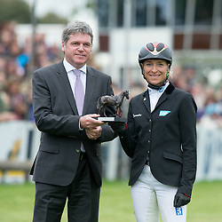 Ingrid Klimke receives a second place Mitsubishi Motors Trophy from Lance Bradley, Managing Director of Mitsubishi Motors UK<br /> Mitsubishi Motors Badminton Horse Trials - Badminton 2015<br /> © Hippo Foto - Jon Stroud