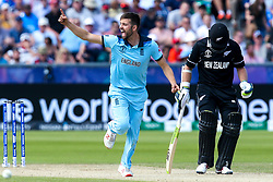 Mark Wood of England celebrates taking the wicket of James Neesham of New Zealand - Mandatory by-line: Robbie Stephenson/JMP - 03/07/2019 - CRICKET - Emirates Riverside - Chester-le-Street, England - England v New Zealand - ICC Cricket World Cup 2019 - Group Stage