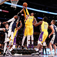 02 October 2017: Denver Nuggets guard Malik Beasley (25) vies for the rebound with Los Angeles Lakers forward Kyle Kuzma (0) and Los Angeles Lakers guard Kentavious Caldwell-Pope (1) during the Denver Nuggets 113-107 victory over the LA Lakers, at the Staples Center, Los Angeles, California, USA.