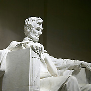 Marble statue of US President Abraham Lincoln at the Lincoln Memorial on the Mall in Washington DC, USA<br />