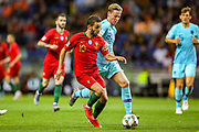 Netherlands Midfielder Frenkie de Jong (Ajax) holds off Portugal midfielder Bernardo Silva (10) during the UEFA Nations League match between Portugal and Netherlands at Estadio do Dragao, Porto, Portugal on 9 June 2019.
