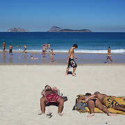 A beach scene on Ipanema beach, Rio de Janeiro,  Brazil. 6th July 2010. Photo Tim Clayton..