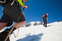 Climbers on the Muir snow field on Mount Rainier, Washington, USA.