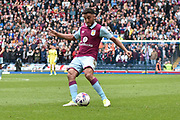 Aston Villa Defender, Neil Taylor (3) shoots during the EFL Sky Bet Championship match between Blackburn Rovers and Aston Villa at Ewood Park, Blackburn, England on 29 April 2017. Photo by Mark Pollitt.