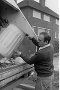 Refuse collection, Sheffield City Council Cleansing Department. 19-09-1985.
