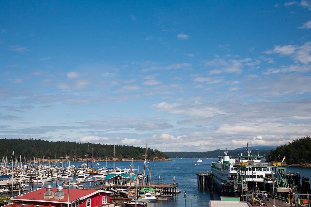United States, Washington, San Juan Island, Friday Harbor. ferry at pier at the Port of Friday Harbor.