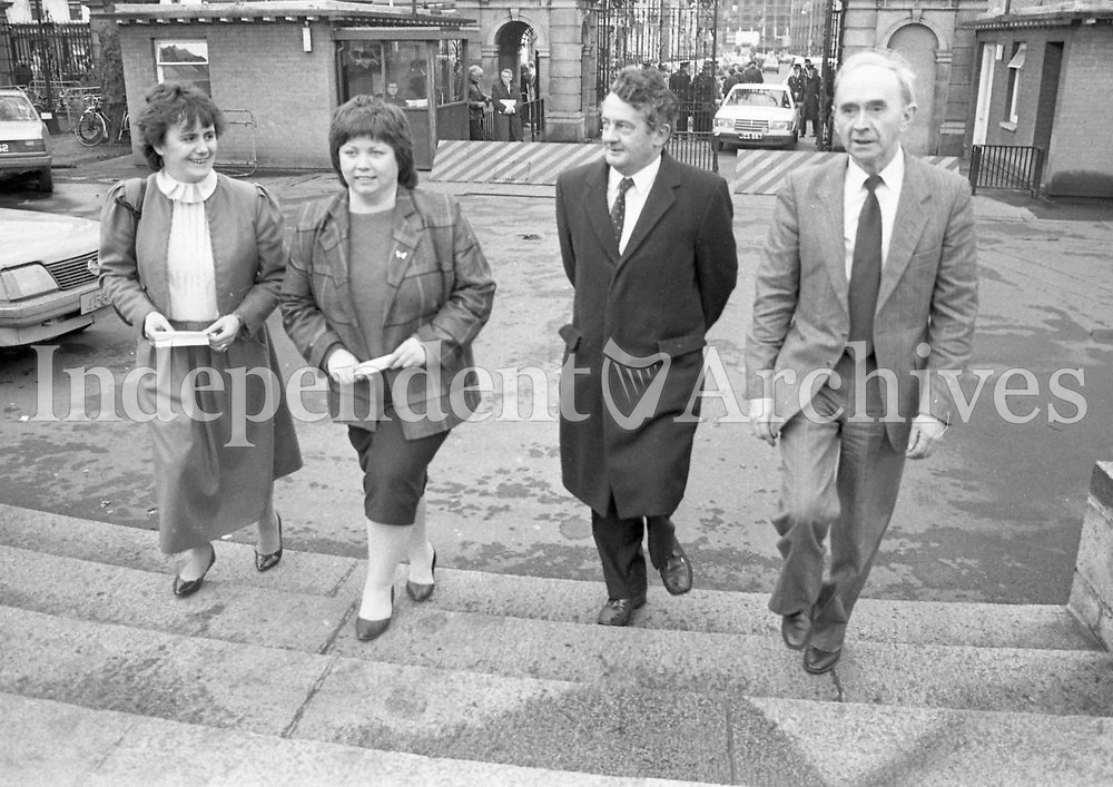 TD's From left Senator Helina McAuliffe,Mary Harney,TD,Des O'Malley,TD and Pearse Wyse,TD at Leinster House January 1986,<br /> (Part of the Independent Newspapers Ireland/NLI Collection)
