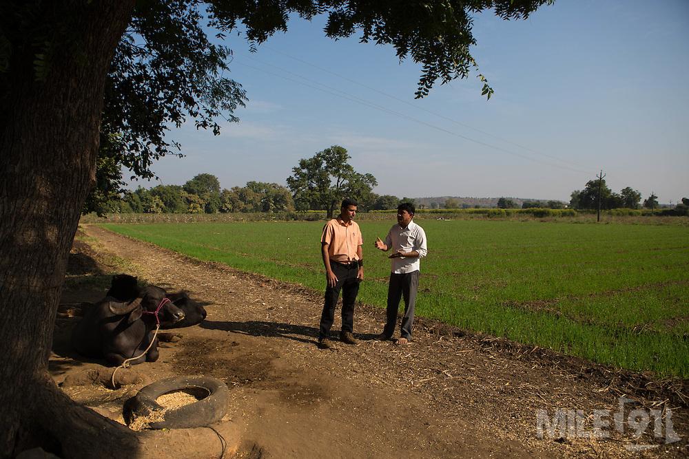 Shantilal talking to Ajit Kelkar, an organic cotton farming consulatnt on his farm in Madhya Pradesh, India.