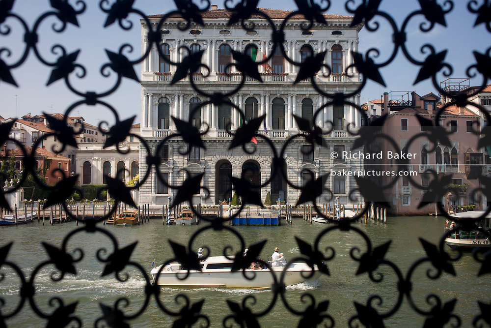 Window from the Peggy Guggenheim Collection through to the Grand Canal in Venice, Italy. The modern art museum in the Dorsoduro district is one of the most visited attractions in Venice.