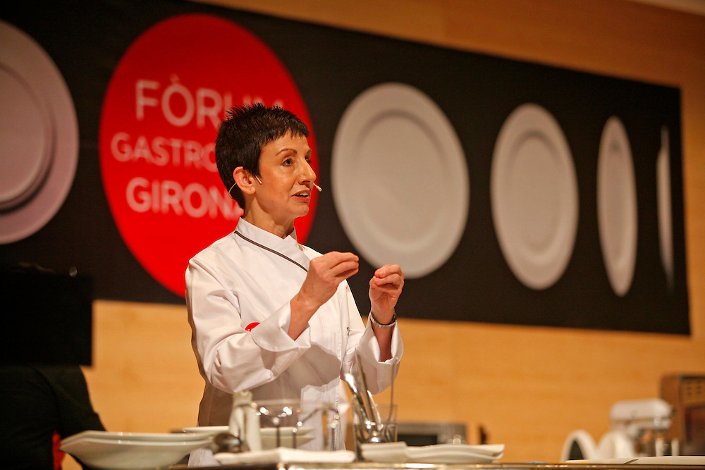 The best Catalan cooks of the guide Michelin. Chef Carme Ruscalleda from restaurant Sant Pau, in a gastronomical exhibition.