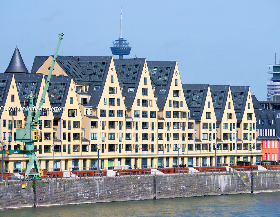 Upmarket apartments in historic buildings in Rheinauhafen new commercial and residential district in Cologne Germany