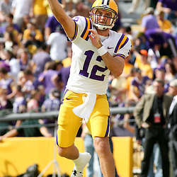 November 25, 2011; Baton Rouge, LA, USA; LSU Tigers quarterback Jarrett Lee (12) prior to kickoff of a game against the Arkansas Razorbacks at Tiger Stadium.  Mandatory Credit: Derick E. Hingle-US PRESSWIRE