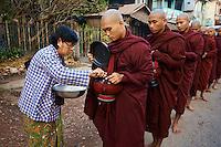 Myanmar (ex Birmanie), Province de Mon, Mawlamyine (Moulmein), procession matinale des moines bouddhiste pour l'aumone // Myanmar (Burma), Mon state, Mawlamyine (Moulmein), Buddhist monks procession receive offerings