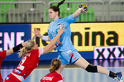 Ana Gros of Slovenia (R) vs Sterbova of Czech republic during handball match between Women National Teams of Slovenia and Czech Republic of 4th Round of EURO 2012 Qualifications, on March 25, 2012, in Arena Stozice, Ljubljana, Slovenia. (Photo by Vid Ponikvar / Sportida.com)
