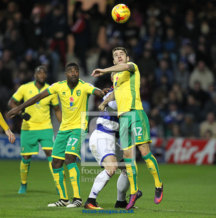Robbie Brady of Norwich wins a header during the Sky Bet Championship match at the Loftus Road Stadium, London<br /> Picture by Paul Chesterton/Focus Images Ltd +44 7904 640267<br /> 19/11/2016