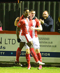 AARON WILLIAMS BRACKLEY TOWN CELEBRATE HIS EARLY GOAL IN 4 MINUTES OF THE GAME, BRACKLEYS FIRST,   Brackley Town v Stockport County, Buildbase FA Trophy 4th Round Replay, Tuesday 6th March 2018 Score 2-1 <br /> Photo:Mike Capps