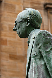 View of statue of Donald Dewar on Buchanan Street the main pedestrian shopping street in Glasgow, Scotland, UK