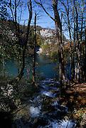 Small stream feeding into Lake, with autumn leaves, Plitvice National Park, Croatia
