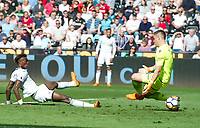 Football - 2017 / 2018 Premier League - Swansea City vs. Stoke City<br /> <br /> Tammy Abraham of Swansea City  shoots at goal, at The Liberty Stadium.<br /> <br /> COLORSPORT/WINSTON BYNORTH
