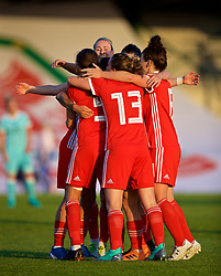 NEWPORT, WALES - Tuesday, June 12, 2018: Wales' Natasha Harding celebrates scoring the third goal with team-mates during the FIFA Women's World Cup 2019 Qualifying Round Group 1 match between Wales and Russia at Newport Stadium. (Pic by David Rawcliffe/Propaganda)
