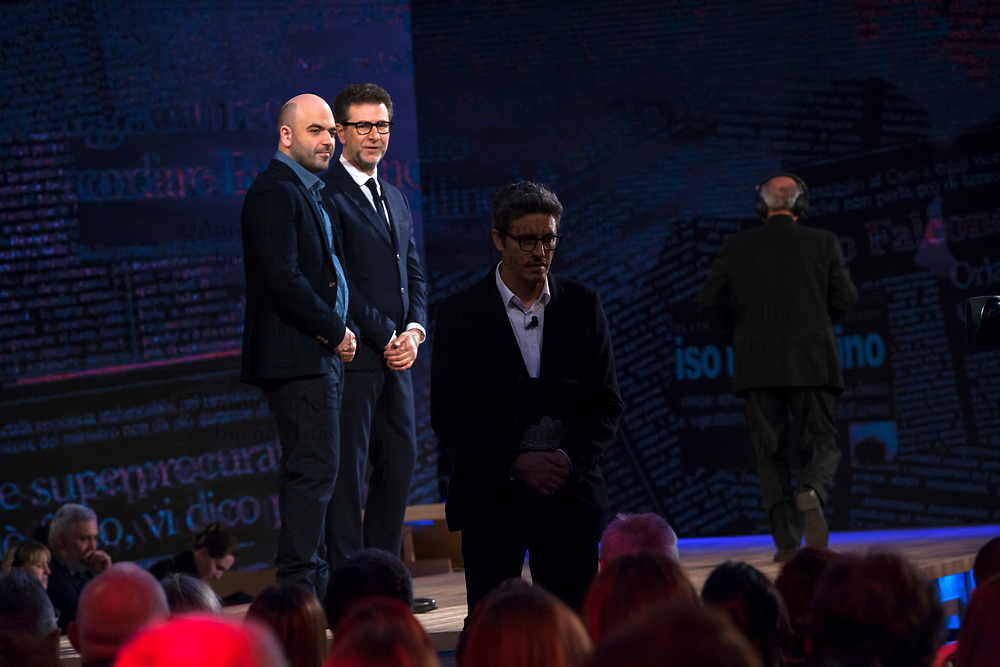 Fabio Fazio, Roberto Saviano e PIF da via D'Amelio a Palermo conducono la diretta RAI in occasione del 25° anniversario della strage di Capaci.