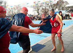 Competitors take part in the Uk Cold Water Swimming Championships at the Tooting Bec Lido in London, January 2011. Photo by i-images