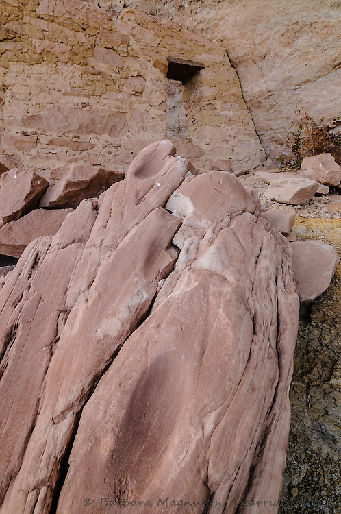 Cold Springs Cave ruins, grinding stone; Comb Ridge, UT