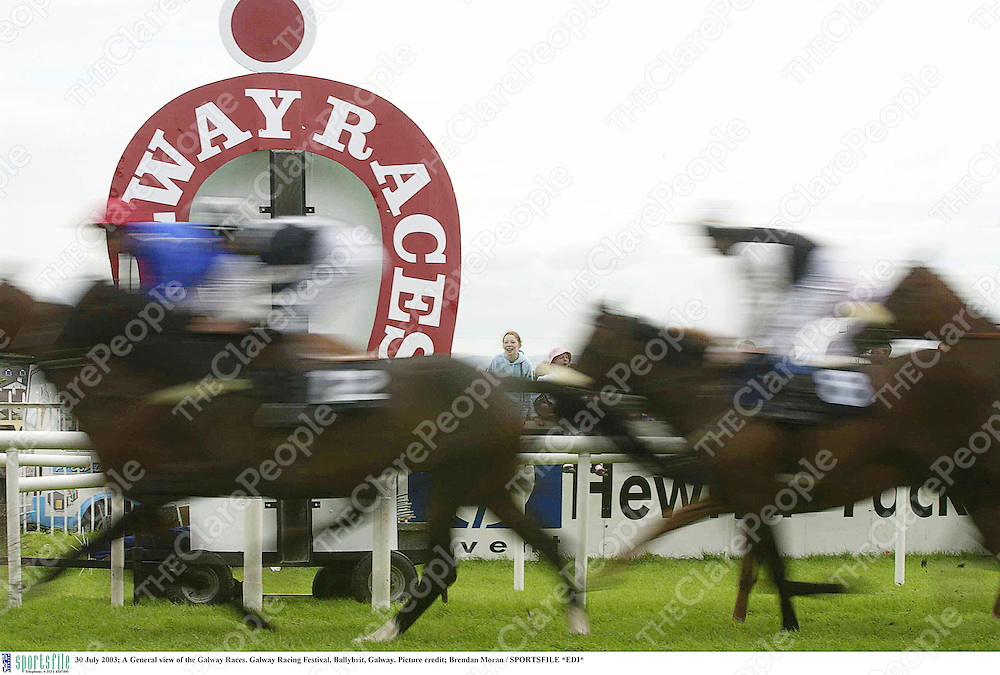 30 July 2003; A General view of the Galway Races. Galway Racing Festival, Ballybrit, Galway. Picture credit; Brendan Moran / SPORTSFILE *EDI*