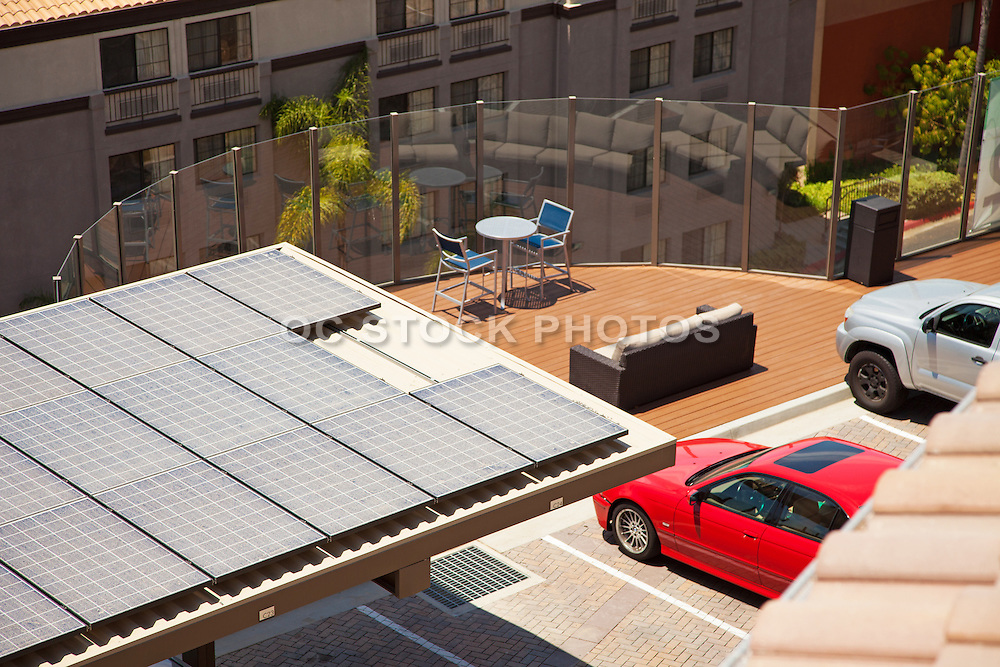 Solar Panels on the Roof of Apartment Living