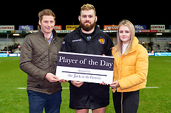 Luke Cowan-Dickie of Exeter Chiefs is presented his Player of the Day award by Sponsors after the final whistle of the match - Mandatory by-line: Ryan Hiscott/JMP - 29/12/2019 - RUGBY - Sandy Park - Exeter, England - Exeter Chiefs v Saracens - Gallagher Premiership Rugby