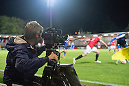 A TV camera records the FA Cup match at Broadhurst Park, Moston<br /> Picture by Russell Hart/Focus Images Ltd 07791 688 420<br /> 09/11/2015