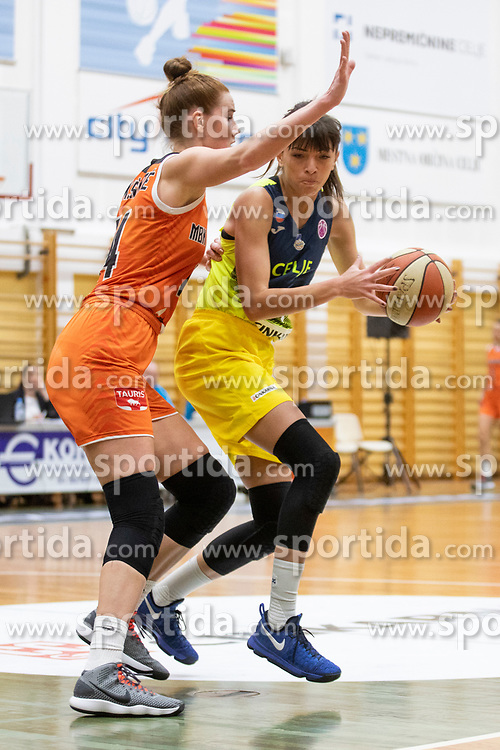Egle Siksniute of MBK Ruzomberok and Ana Radovic of ZKK Cinkarna Celje in action during basketball match between ZKK Cinkarna Celje (SLO) and MBK Ruzomberok (SVK) in Round #6 of Women EuroCup 2018/19, on December 13, 2018 in Gimnazija Celje Center, Celje, Slovenia. Photo by Urban Urbanc / Sportida