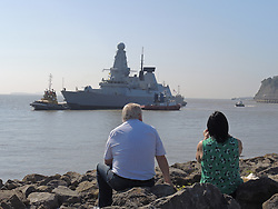 © Licensed to London News Pictures. 02/09/2014. Cardiff, UK. NATO warship HMS Duncan, arrives in Cardiff Bay ahead of the Summit this Thursday - it is one of several vessels which is expected in the historic docks. Photo credit : Ian Homer/LNP