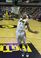January 04 2010: Iowa Hawkeyes forward Melsahn Basabe (1) dunks the ball during the second half of an NCAA college basketball game at Carver-Hawkeye Arena in Iowa City, Iowa on January 04, 2010. Ohio State defeated Iowa 73-68.