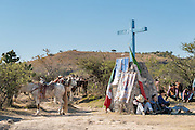 Mexican cowboys rest at a shrine as they ride to join the annual Cabalgata de Cristo Rey cowboy pilgrimage January 4, 2017 in Guanajuato, Mexico. Thousands of Mexican cowboys and horse take part in the three-day ride to the mountaintop shrine of Cristo Rey.