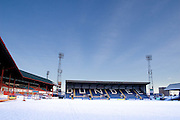 Dundee Football Club's Dens Park Stadium pictured with the pitch covered in snow