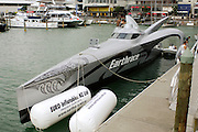 Earthrace Bio-diesel powered round the world challenge power boat. Viaduct Harbour, Auckland, New Zealand. 23/2/2006