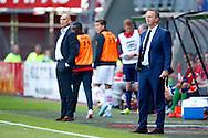 23-08-2015 VOETBAL:AZ-WILLEM II:ALKMAAR <br /> Eredivisie 2015-2016 <br /> <br /> Beide trainers John van den Brom van AZ en Trainer/Coach Jurgen STREPPEL van Willem II <br /> <br /> Foto: Geert van Erven