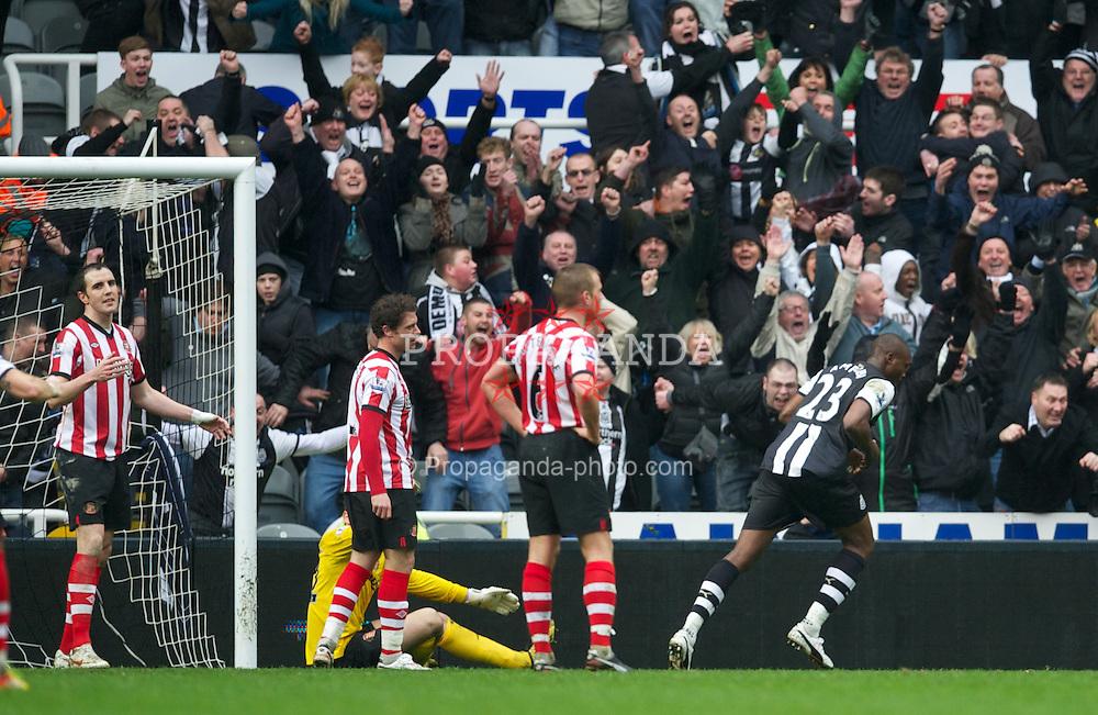 NEWCASTLE, ENGLAND - Sunday, March 4, 2012: Newcastle United's Shola Ameobi celebrates scoring the equalising goal against Sunderland during the Premiership match at St. James' Park. (Pic by David Rawcliffe/Propaganda)