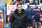 Bristol City Manager Lee Johnson during the EFL Sky Bet Championship match between Bolton Wanderers and Bristol City at the Macron Stadium, Bolton, England on 11 August 2018.