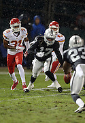 Oakland Raiders wide receiver Denarius Moore (17) chases the ball after fumbling a second quarter punt recovered by the Kansas City Chiefs deep in Raiders territory during the NFL week 12 regular season football game against the Kansas City Chiefs on Thursday, Nov. 20, 2014 in Oakland, Calif. The Raiders won their first game of the season 24-20. ©Paul Anthony Spinelli