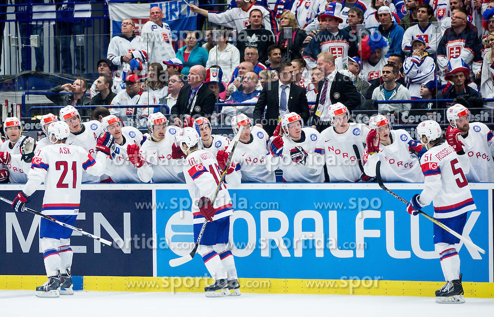 Morten Ask of Norway, Mattias Norstebo of Norway and Mats Rosseli Olsen of Norway celebrate when they scored second goal during Ice Hockey match between Slovakia and Norway at Day 6 in Group B of 2015 IIHF World Championship, on May 6, 2015 in CEZ Arena, Ostrava, Czech Republic. Photo by Vid Ponikvar / Sportida