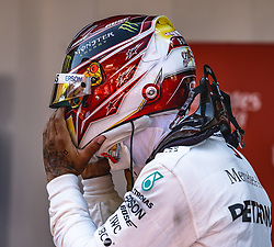 May 12, 2019 - Barcelona, Catalonia, Spain - LEWIS HAMILTON (GBR) from team Mercedes  takes off his helmet after his victory of the Spanish GP presenting his cup on the podium at the Circuit de Barcelona - Catalunya (Credit Image: © Matthias Oesterle/ZUMA Wire)