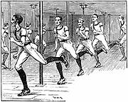 Young Men's Christian Association (YMCA) Gymnasium Longacre, London: Young men sprinting through the 'Maze'. Wood engraving 1887