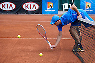 Tennis player competes in 29th Polish National Championships in Amateur Tennis on Warszawianka Courts in Warsaw, Poland.<br /> <br /> Poland, Warsaw, July 17, 2013<br /> <br /> Picture also available in RAW (NEF) or TIFF format on special request.<br /> <br /> For editorial use only. Any commercial or promotional use requires permission.<br /> <br /> Photo by © Adam Nurkiewicz / Mediasport