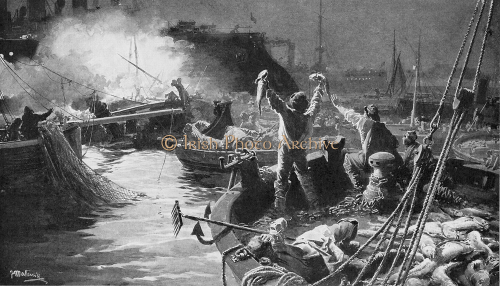 Russo-Japanese War 1904-1905:  The Russian Baltic fleet bombarding English fishing boats in the North Sea